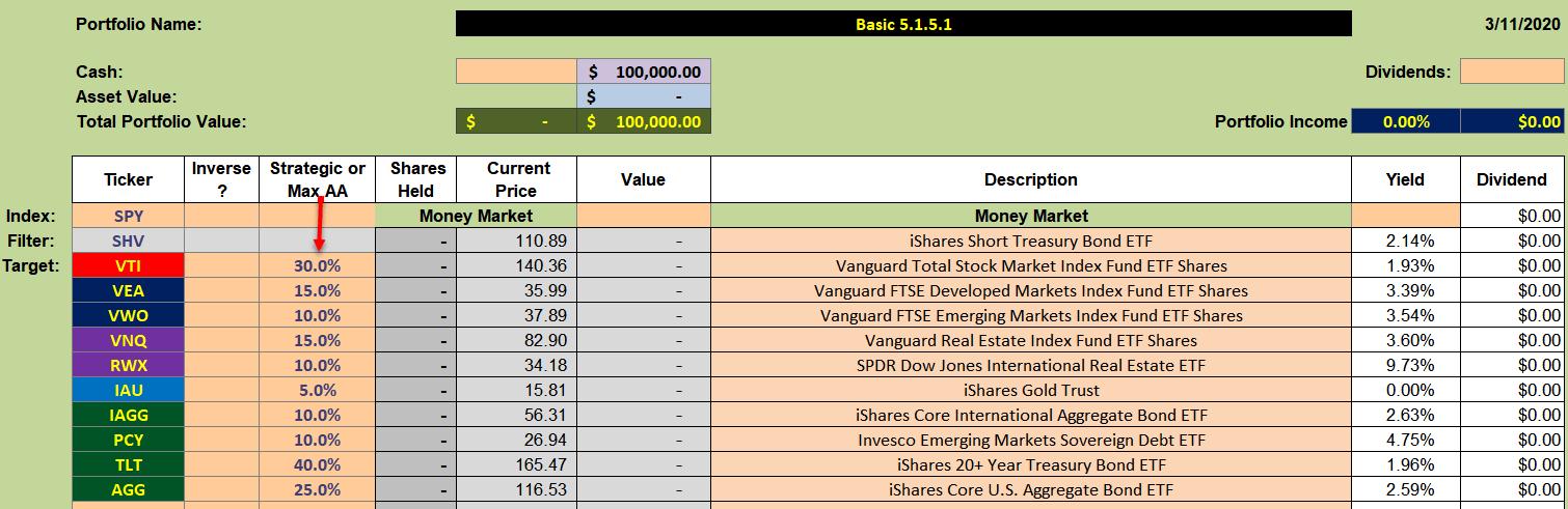 Asset Allocation Feature of the Kipling Spreadsheet 2